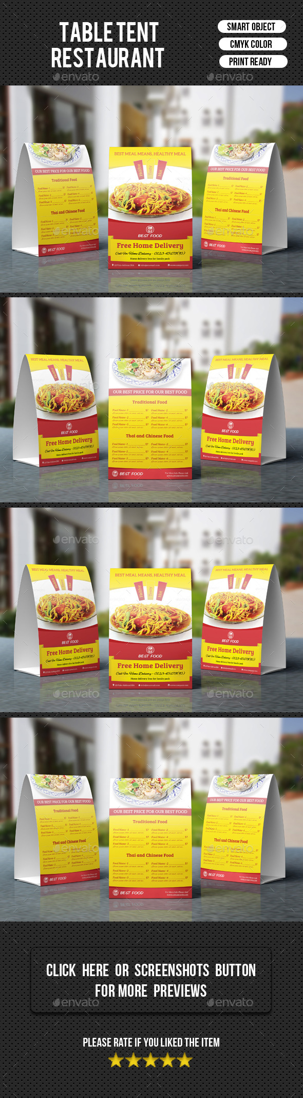 GraphicRiver Restaurant Table Tent-V05 9822836