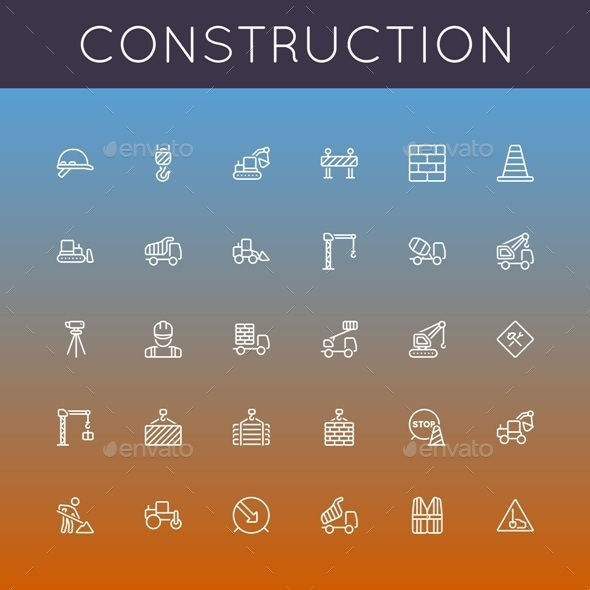 GraphicRiver Construction Line Icons 9823553