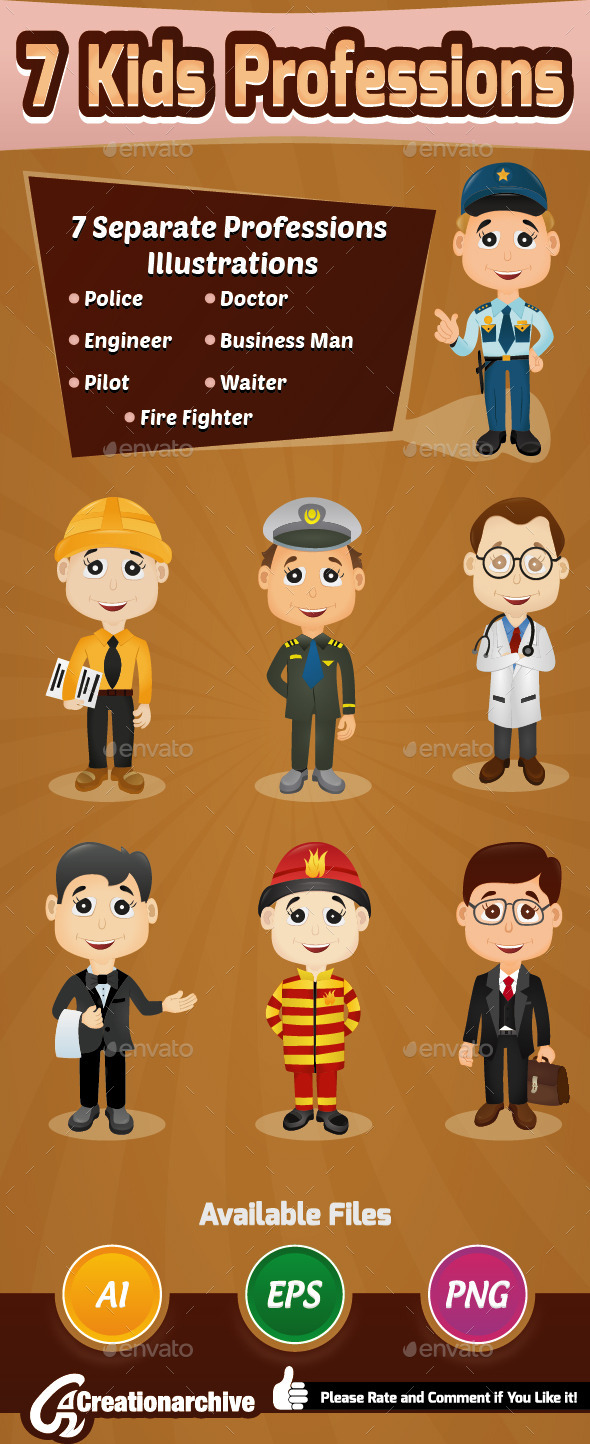 GraphicRiver 7 Kids Professions 9823649