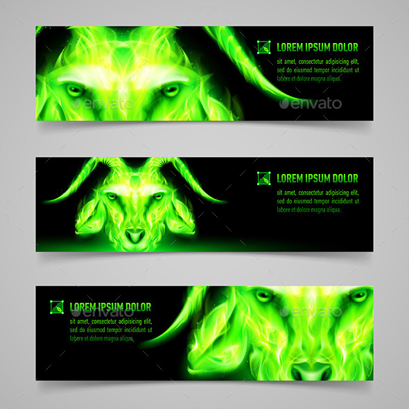 GraphicRiver Goat Fire Banners 9824390