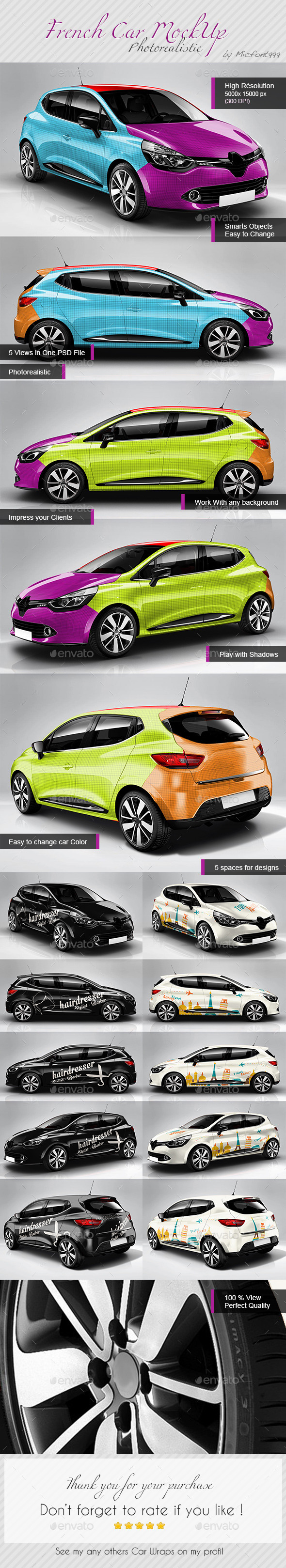 GraphicRiver Photorealistic Popular French Car Mock-up 9778880