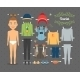 Tourist Boy Paper Doll with Clothes and Shoes - GraphicRiver Item for Sale