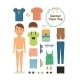 Paper Doll Boy in Summer Clothes and Shoes - GraphicRiver Item for Sale