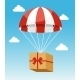 Red and White Parachute Holding Delivery Box - GraphicRiver Item for Sale