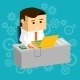 Cartooned Businessman at Working Table with Laptop - GraphicRiver Item for Sale