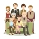 Cartooned Big Happy Family at the Sofa - GraphicRiver Item for Sale