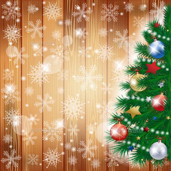 GraphicRiver Christmas Background with Tree and Copy Space 9824924