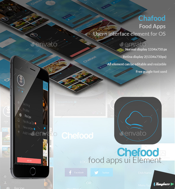 GraphicRiver Food Apps UI Element 9774147