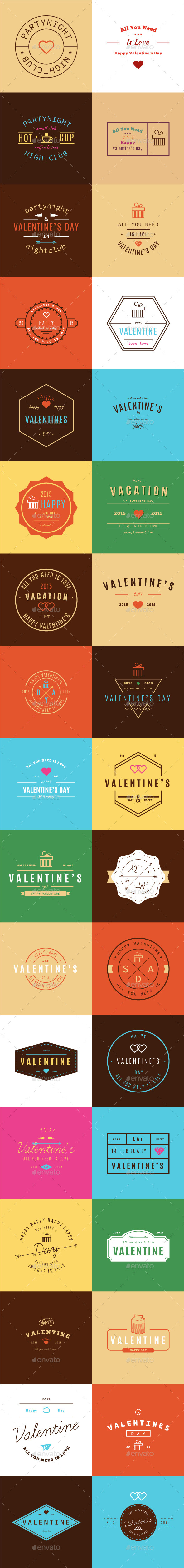 GraphicRiver Happy Valentine s Day Retro Vintage Insigns 9825336