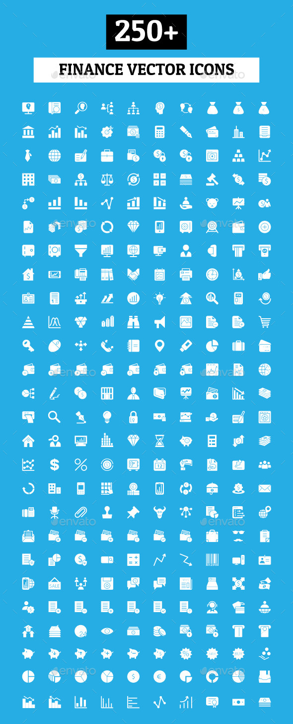 GraphicRiver 250& Finance Vector Icons 9825428