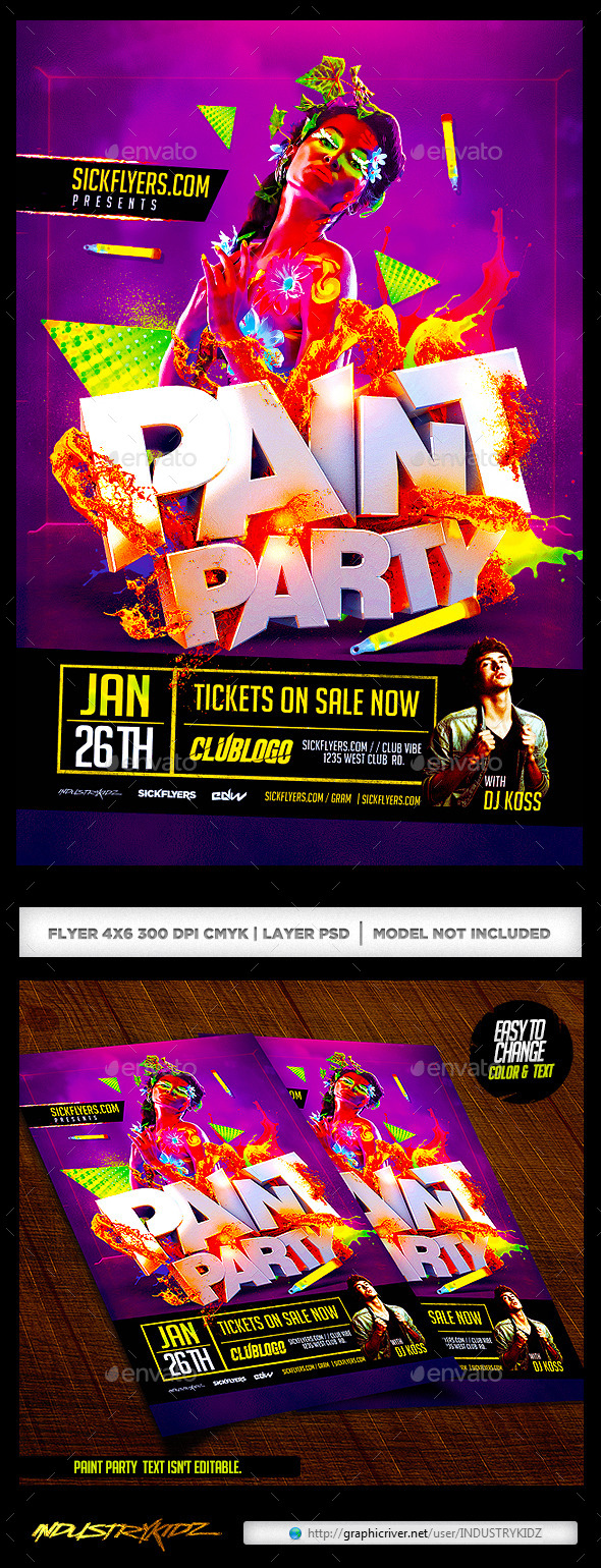 GraphicRiver Paint Party Flyer Glow In the Dark 9825741