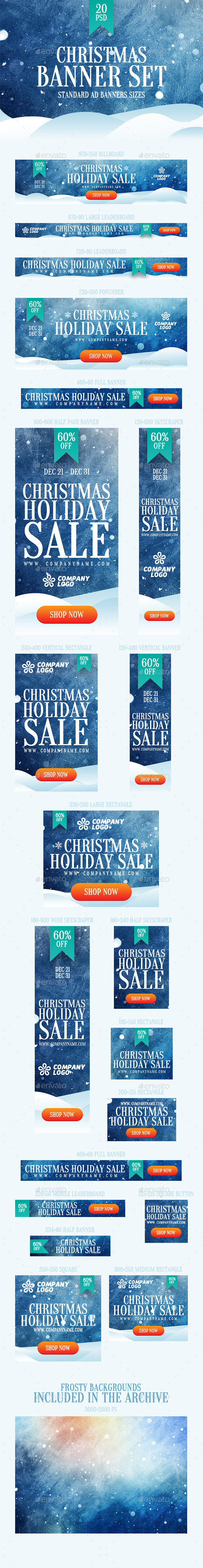 GraphicRiver Christmas Banner Set 9825802
