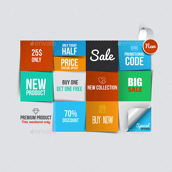 GraphicRiver Color Sale Cards 9826028