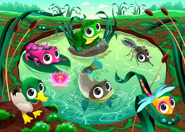 GraphicRiver Animals in the Pond 9826536