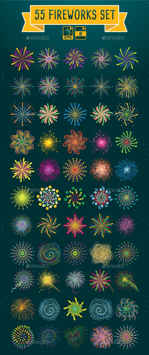 GraphicRiver 55 Fireworks Set 9826893