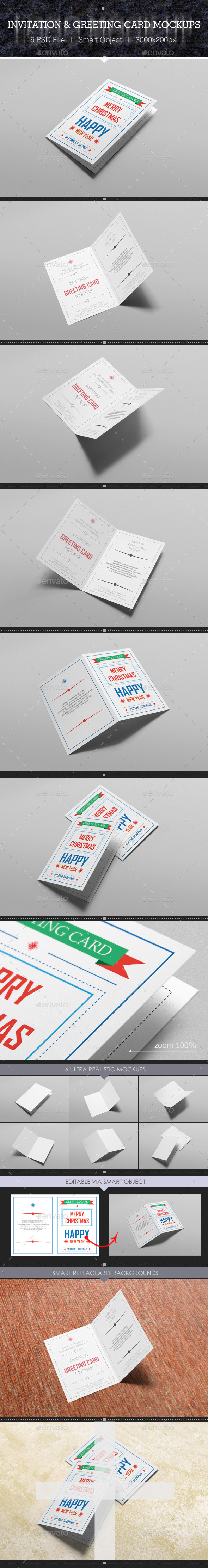 GraphicRiver Invitation & Greeting Card Mockups 9827091