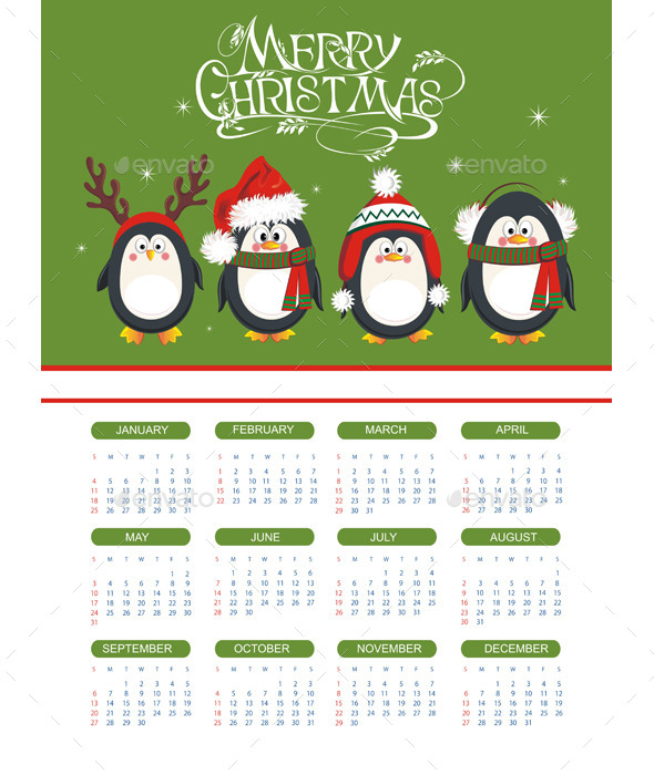 GraphicRiver Merry Christmas Illustration with Calendar 9827307