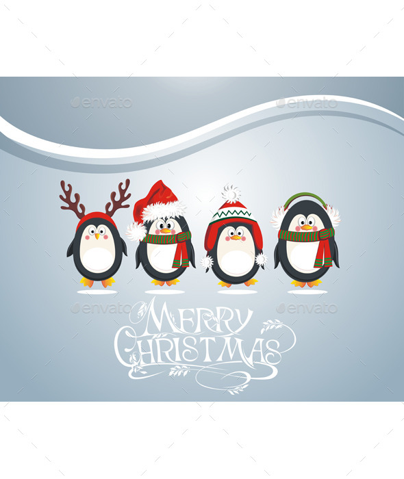 GraphicRiver Christmas Card with Penguins 9827327