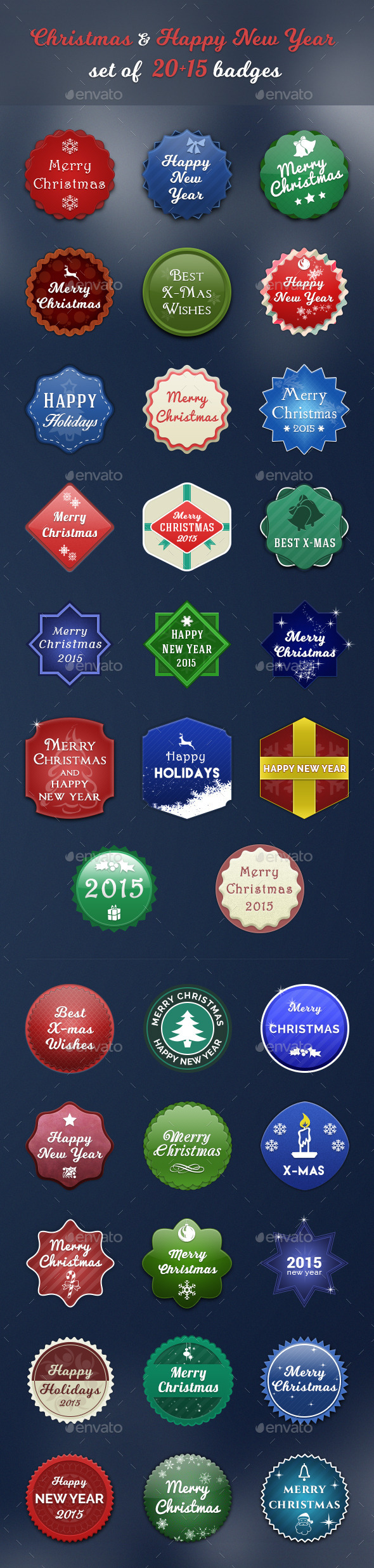 GraphicRiver Christmas & Happy New Year set of 20&15 badges 9827454