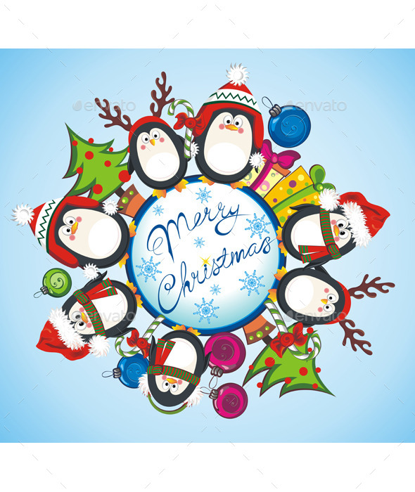 GraphicRiver Merry Christmas Card with Penguins 9827467