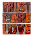 trust, care, love in wood type - PhotoDune Item for Sale
