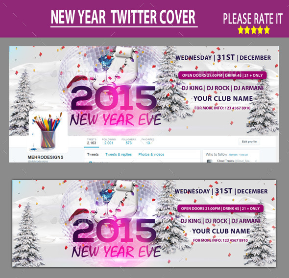 GraphicRiver New Year Twitter Cover 9827843