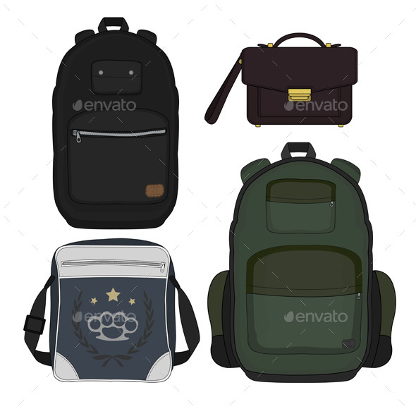 GraphicRiver Set of Four Men s Bags 9827917