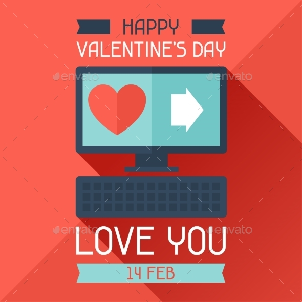GraphicRiver Happy Valentine s Illustration in Flat Style 9827964