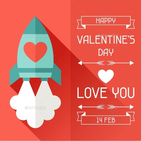 GraphicRiver Happy Valentine s Illustration in Flat Style 9827982