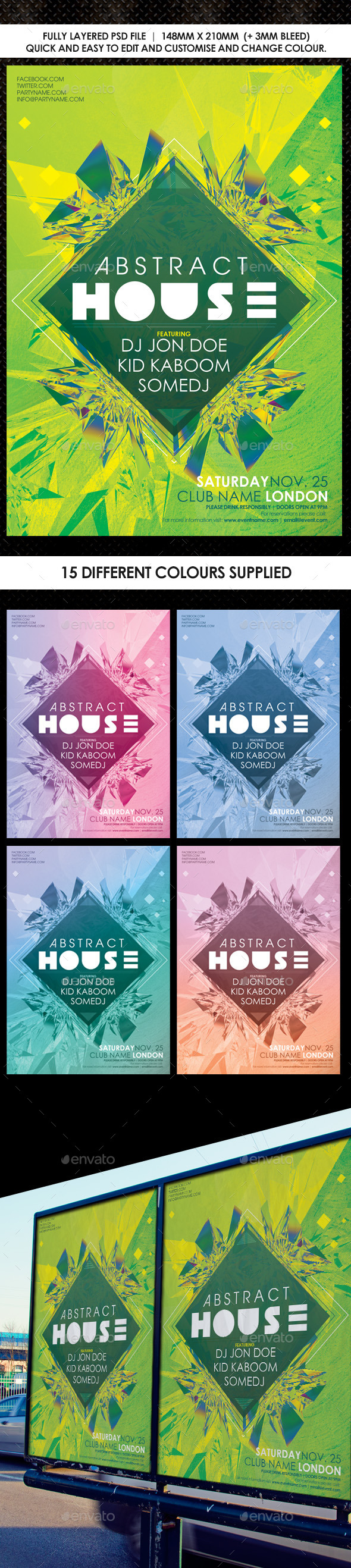 GraphicRiver Deep House Abstract Flyer Vol 2 9828075