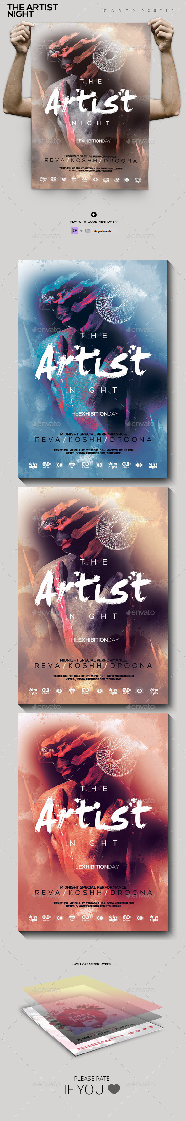 GraphicRiver The Artist Night Party Flyer Poster 9828232