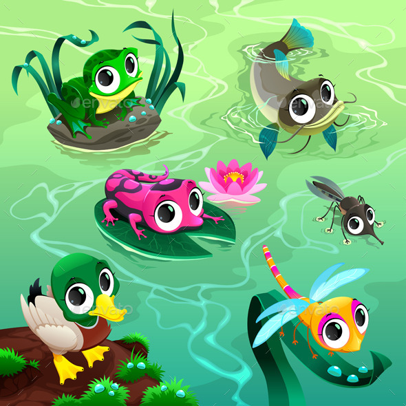 GraphicRiver Animals in the Pond 9828350
