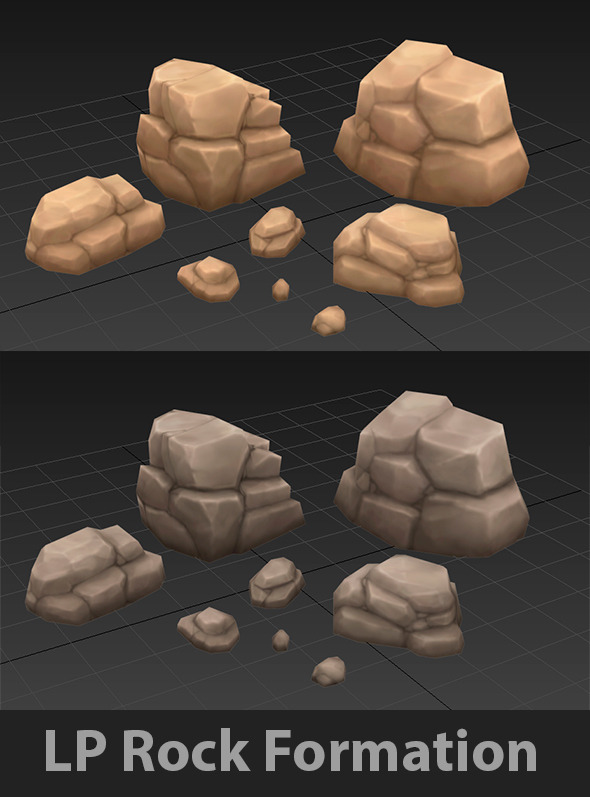 3DOcean Low Poly Rock Formation 9795053