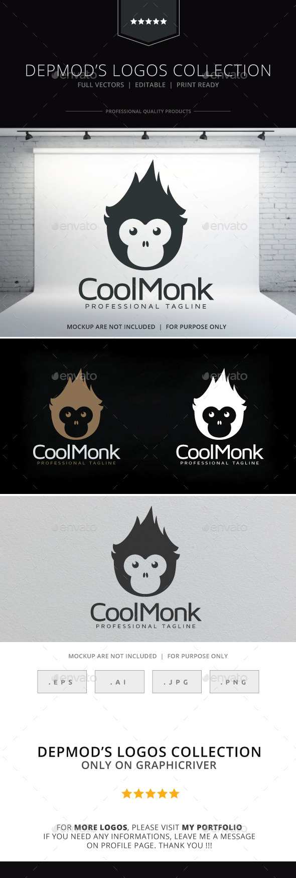 GraphicRiver Cool Monk Logo 9829251