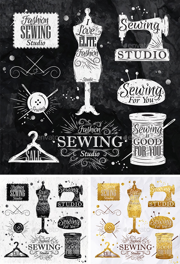 GraphicRiver Sewing Symbols 9829252