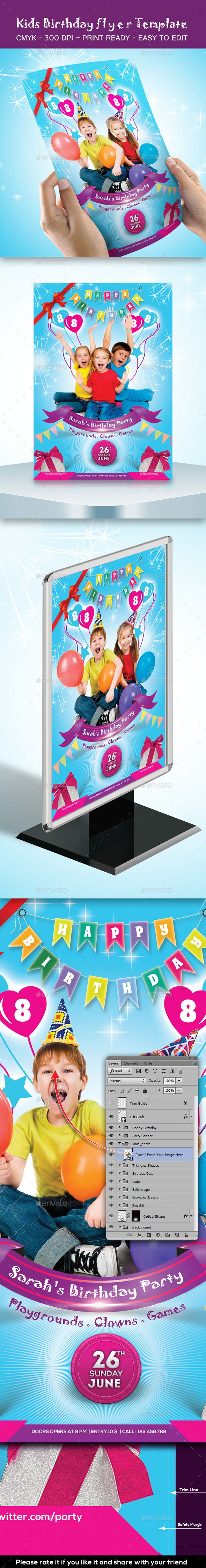 GraphicRiver Kids Birthday Party Flyer Template 9795651