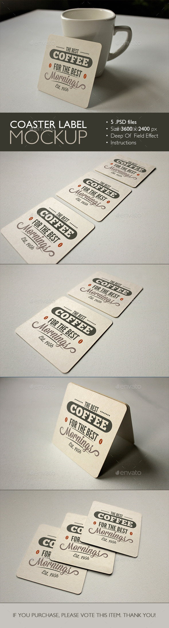 GraphicRiver Coaster Label Mockup 9829621