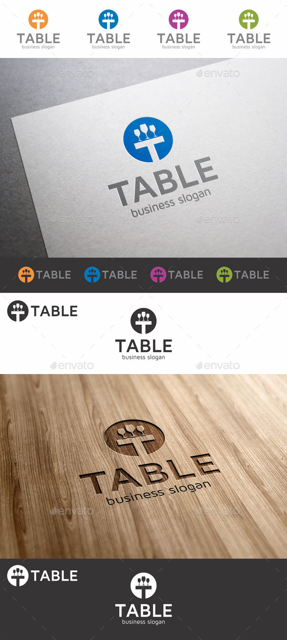 GraphicRiver Table Logo Template Letter T 9829646