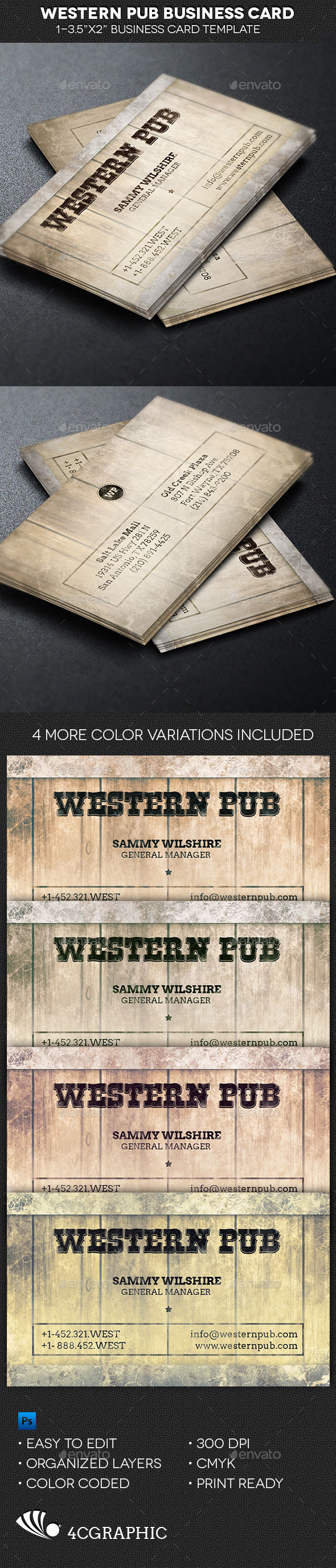 GraphicRiver Western Pub Business Card Template 9830093