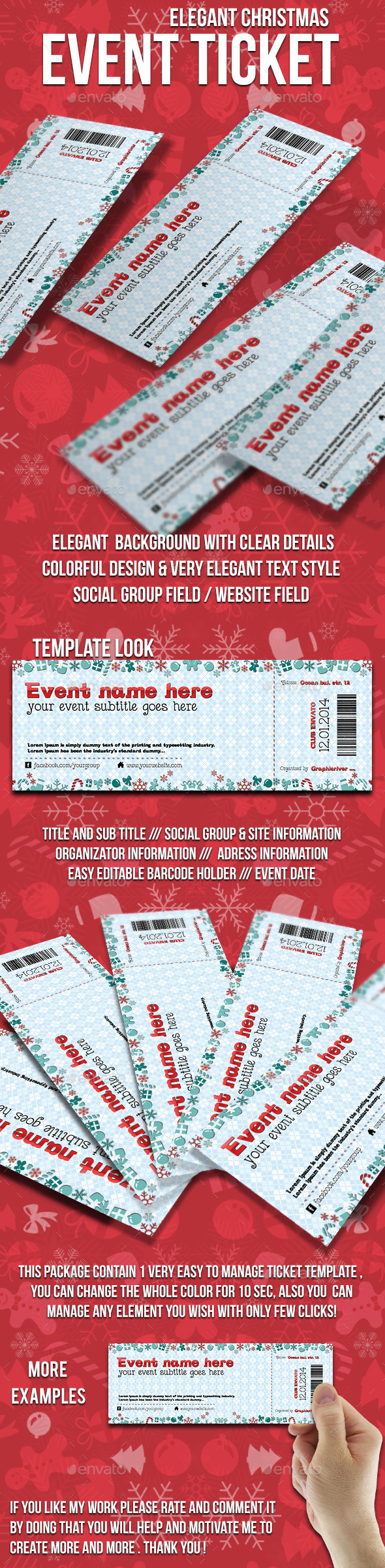 GraphicRiver Christmas event ticket 9729663