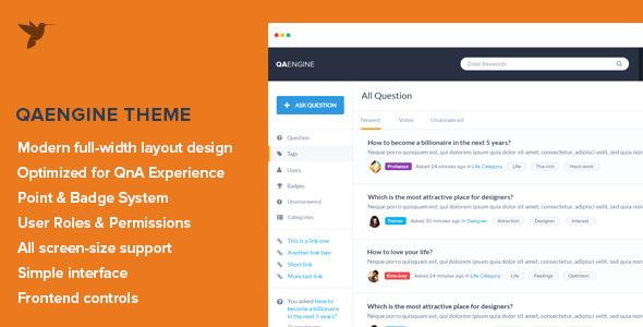 QAEngine Question and Answer WordPress Theme