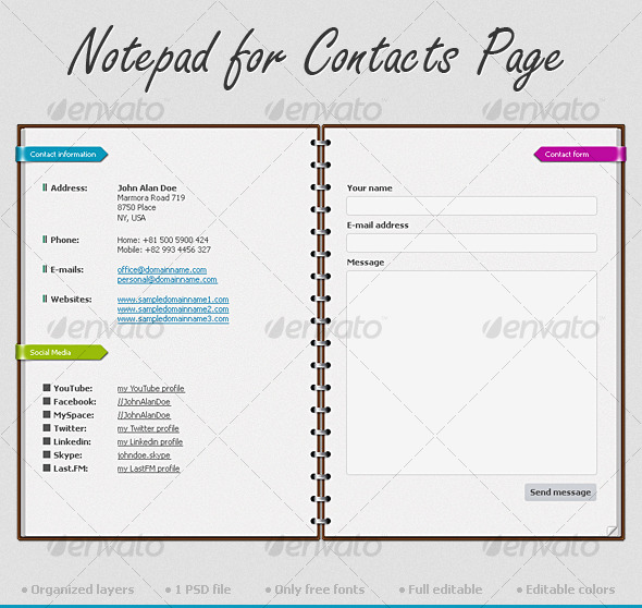Notepad for Contacts Page - Forms Web Elements