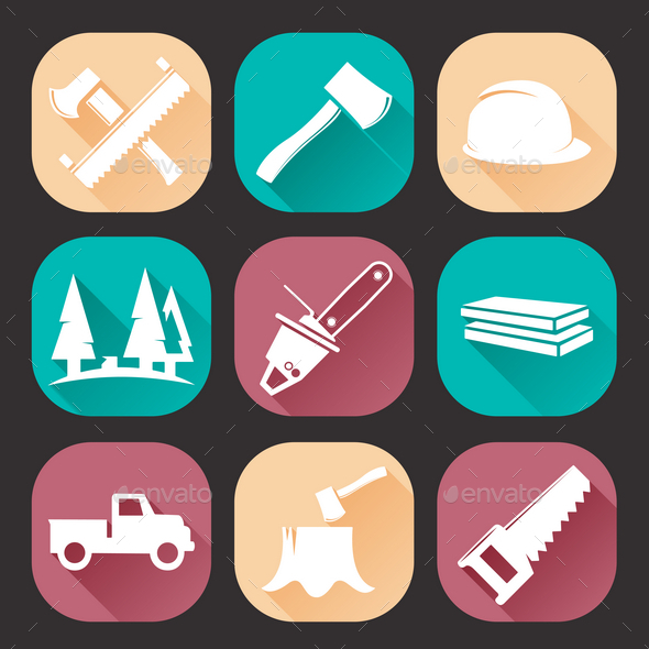 GraphicRiver Lumberjack Woodcutter Icons Set 9830551