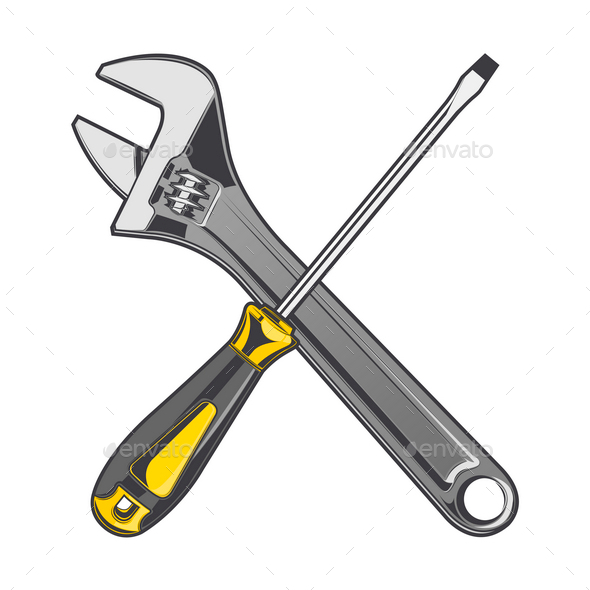 GraphicRiver Wrench and Screwdriver 9830588