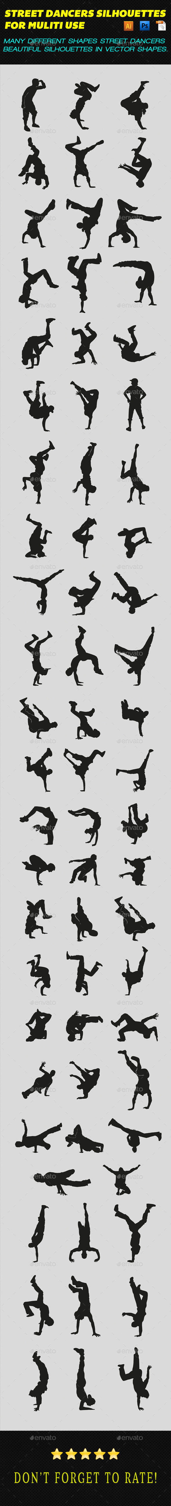 GraphicRiver Street Dancers Silhouettes 9830818