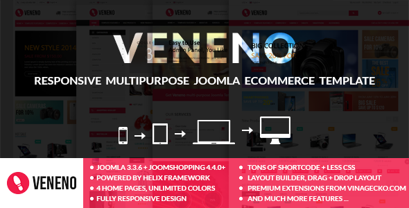 ThemeForest Veneno Multipurpose Joomla eCommerce Template 9800761