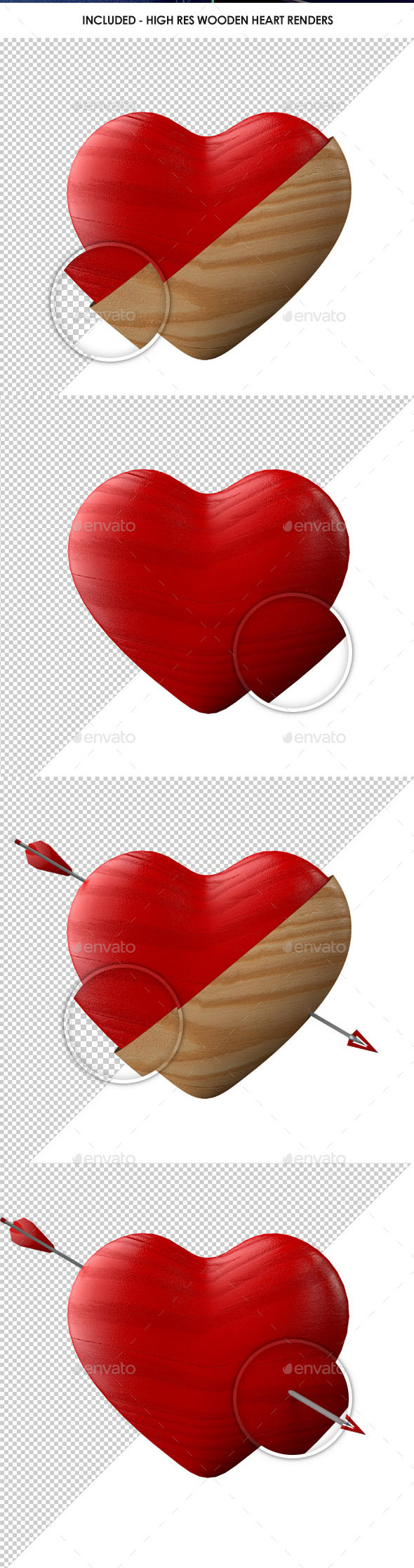 GraphicRiver Retro Shabby Chic Wooden Heart Renders 9834289