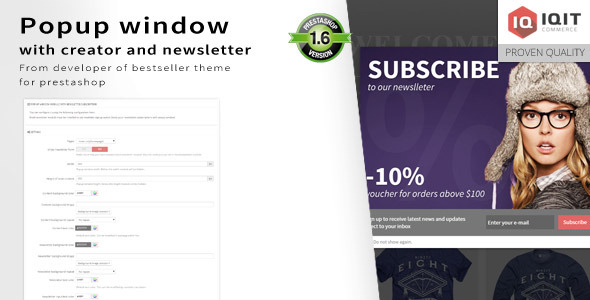 Popup window editor with newsletter