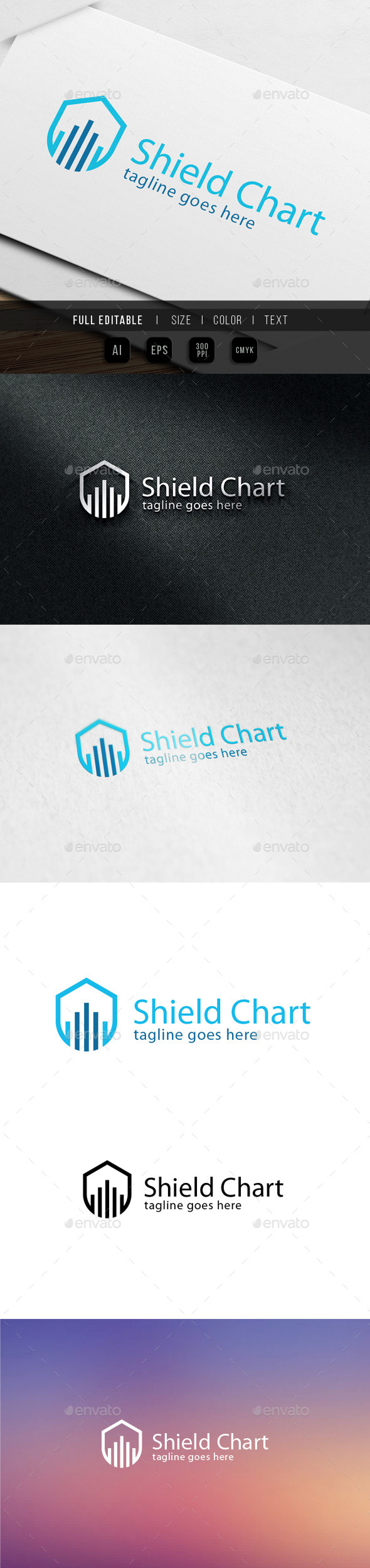 GraphicRiver Shield Chart Logo 9835148