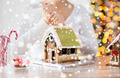 close up of woman making gingerbread houses - PhotoDune Item for Sale